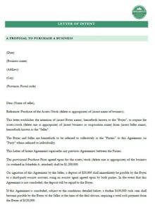 fishing & hunting lodge camp or resort sale letter of intent example