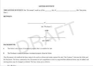 letter of intent to purchase a lodge marina or resort