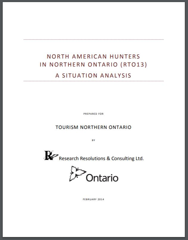 North American Hunters in Northern Ontario - A Situation Analysis